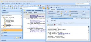 Mit der Add-On Unified Messaging Lösung IXI-UMS von serVonic erhält der Benutzer alle Nachrichten – E-Mail, Fax, Voice, SMS – im gewohnten E-Mail Client, beispielsweise Microsoft Outlook (Screenshot: serVonic GmbH)