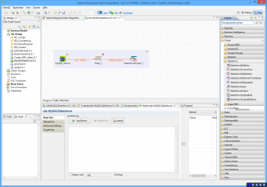A typical data transformation job in Talend Data Integration Studio. The job reads data from a MySQL database, transforms it with a mapping function in line with the organization's requirements and exports it to Salesforce.