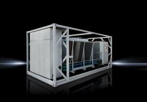 Mit dem neuen Kältecontainer erweitert Rittal sein modulares, standardisiertes Rechenzentrum RiMatrix S. Er arbeitet vorrangig mit indirekter freier Kühlung und erzielt dadurch eine besonders hohe Energieeffizienz mit einem PUE von bis zu 1,15. (Quelle Rittal GmbH & Co. KG)
