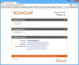 Hilfesuchende Kunden können über das Web-Interface der Appliance Support-Verbindungen anfordern