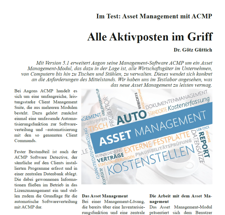 Im Test: Asset Management mit Aagon ACMP