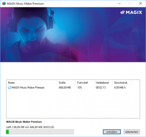 Der Installer von Magix Music Maker Premium beim Download der Software