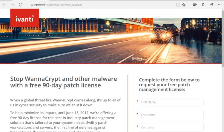 Nach WannaCrypt-Attacke: Ivanti kontert mit kostenloser 90-Tage-Patch-Lizenz