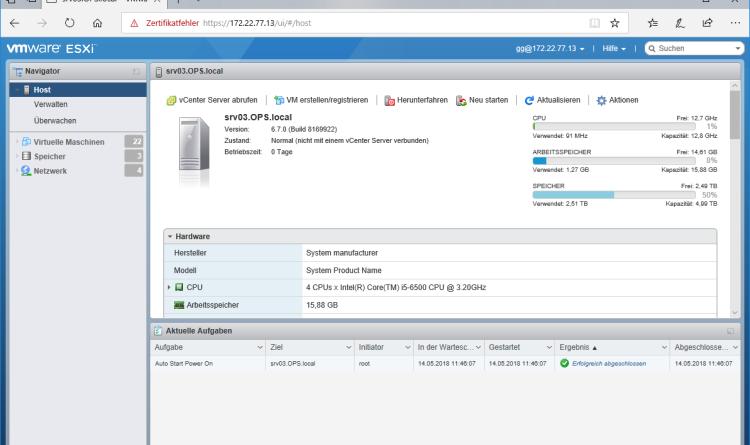 Rollback von Vmware ESXi 6.5 Update 1