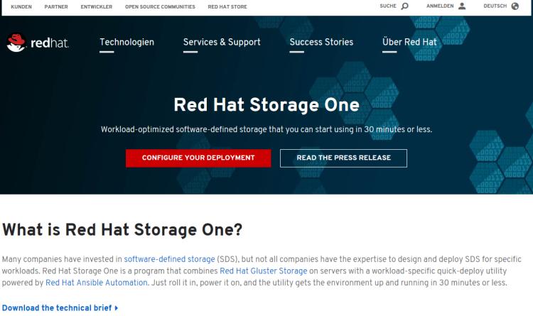 Red Hat beschleunigt mit Red Hat Storage One die Einführung von Software-Defined Storage