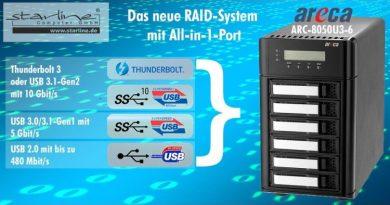 Neues 6-fach RAID-System von Areca überträgt via USB mit 10 Gigabit pro Sekunde auf solitäre Medienarbeitsplätze