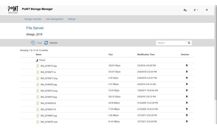 PoINT Storage Manager 6.3: Webinterface und Archivspeicheranalyse