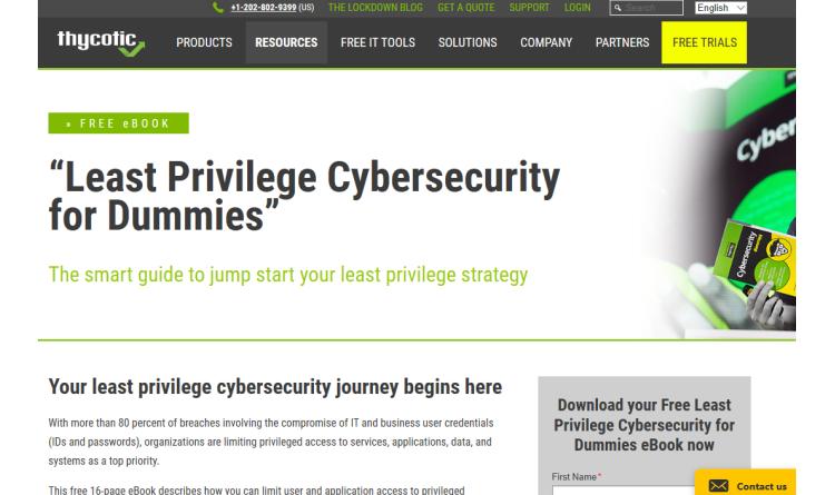 "Thycotic veröffentlicht E-Book ""Least Privilege Cybersecurity For Dummies"""