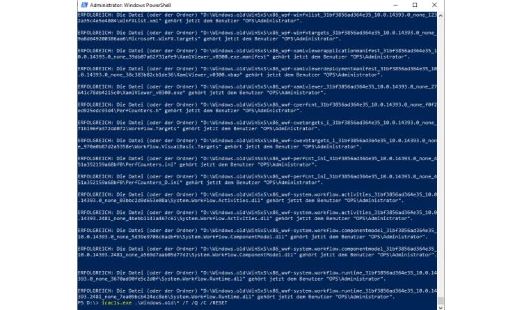 Windows-Dateiberechtigungen zurücksetzen