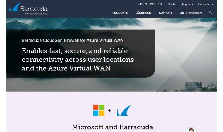 Barracuda stattet seine CloudGen Firewall mit vollautomatisierter O365-Richtlinien-Konfiguration im Azure vWAN aus