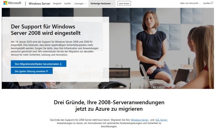 Microsoft rät Kunden mit Windows Server 2008 zum schnellen Umstieg auf Azure-Cloud