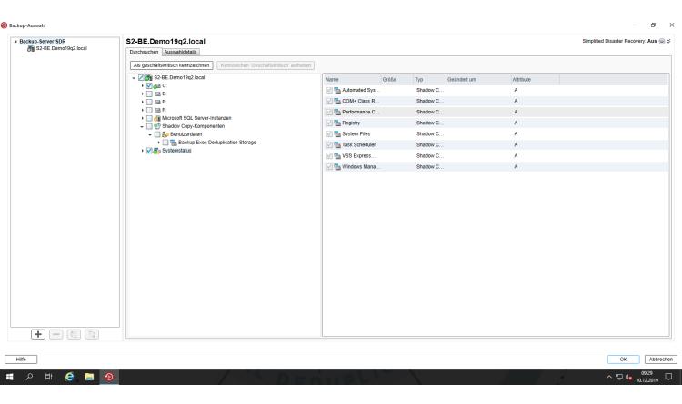 Mit Backup Exec ein Backup vom Backup-Server erstellen
