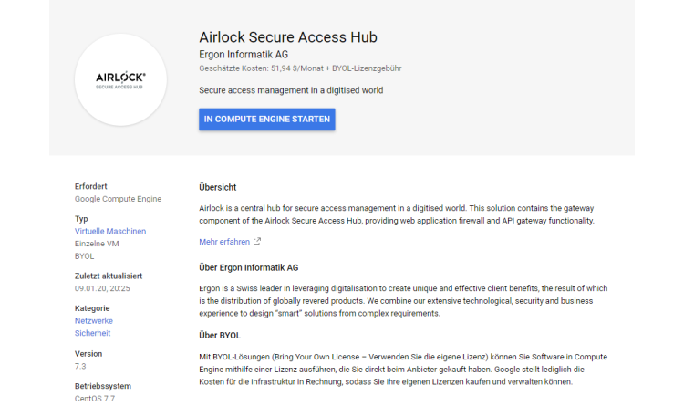 Airlock Secure Access Hub auf Google Cloud Marketplace