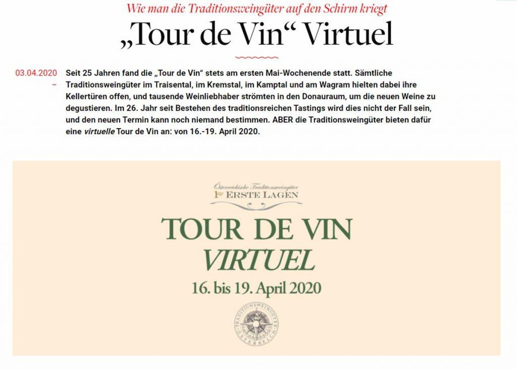 """Virtuelle """"Tour de Vin""""- Online Weine der Österreichischen Traditionsweingütern verkosten - Screenshot Sysbus"""