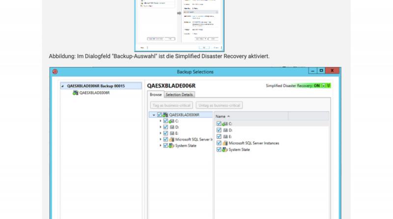 Systemkritische Komponenten mit Simplified Disaster Recovery in Backup Exec 21 sichern
