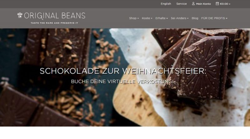 Original Beans Schokoladenverkostung Online - Screenshot: DeinEnergieportal