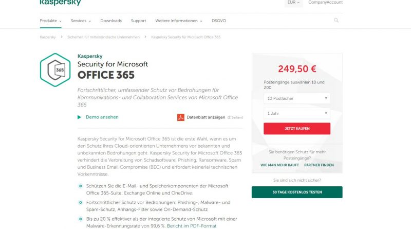 """Neue Version von Kasperskys """"Security for Microsoft Office 365"""""""