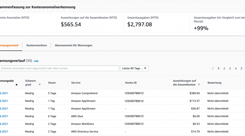 Kostenkontrolle mit AWS Cost Anomaly Detection